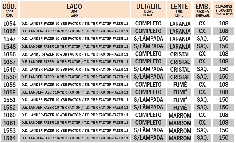 PISCA XTZ 250 LANDER / FAZER / YBR FACTOR