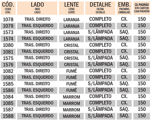 PISCA XTZ 250 LANDER 2009~2011 TRASEIRO